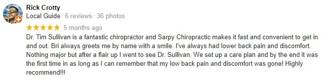 Chiropractic Omaha NE Patient Testimonial at Sarpy Chiropractic 2