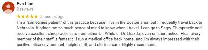 Chiropractic Omaha NE Patient Testimonial at Sarpy Chiropractic 3